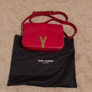 Saint Laurent Paris red leather crossbody